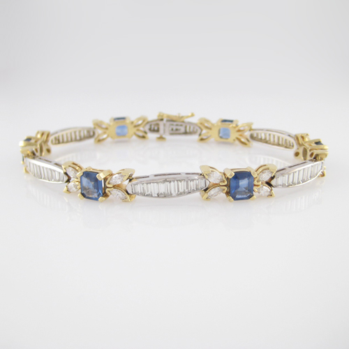 14K Ladies Diamond and Sapphire Bracelet